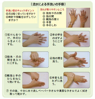 流水による手洗いの手順